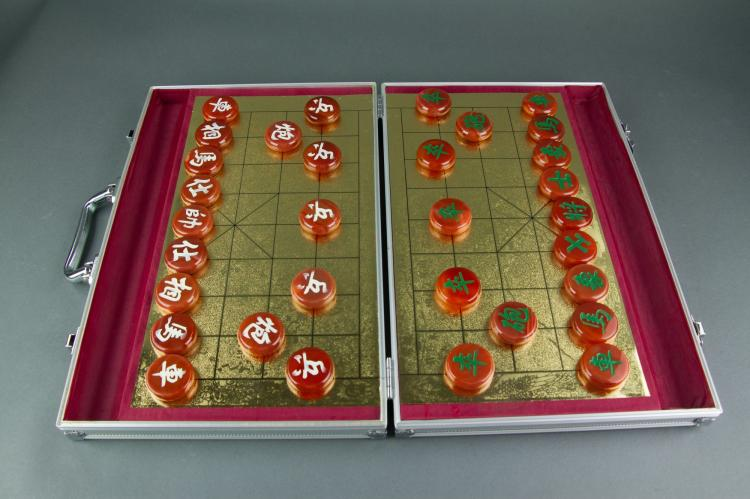 Chinese Agate Chess Set with Metal Case