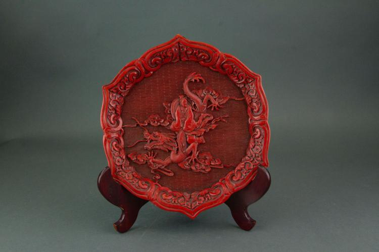 Chinese Red Lacquer Plate