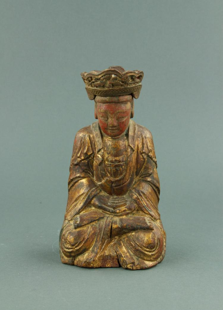 Ming Period Chinese Fine Gilt Wood Carved Buddha