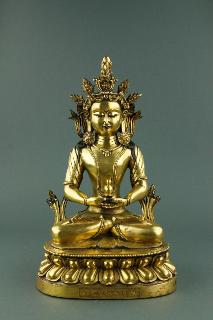 Chinese Fine Gilt Bronze Buddha Figure