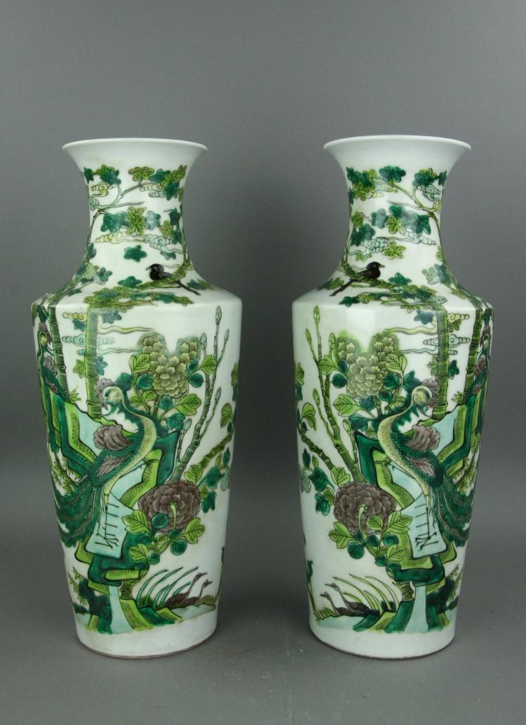 Pair Famille Verte Porcelain Vase Kangxi MK