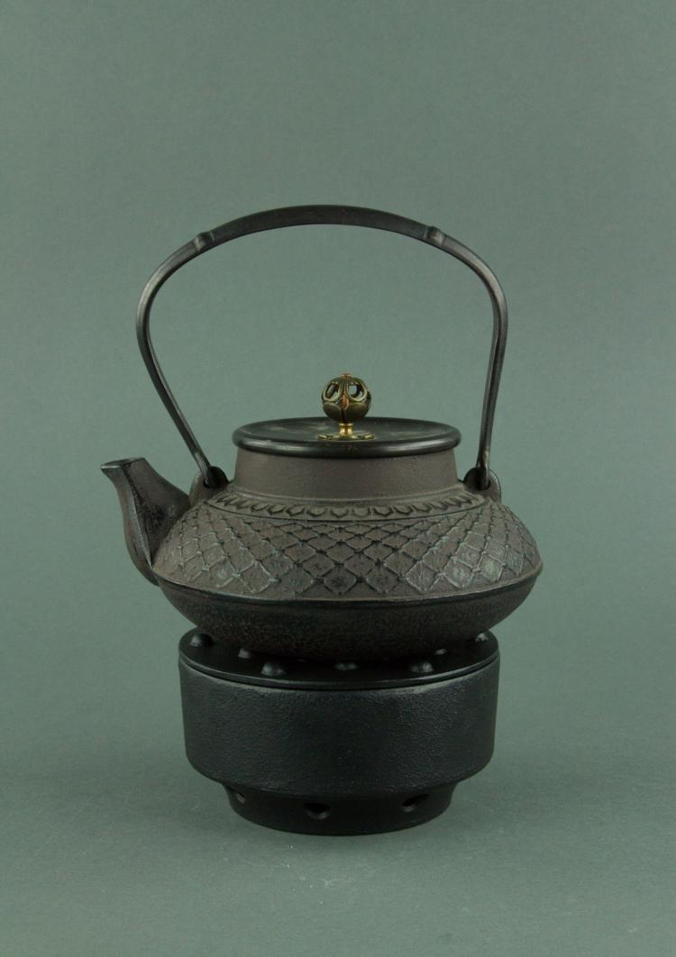 Japanese Cast Iron Tetsubin Kettle with Stand