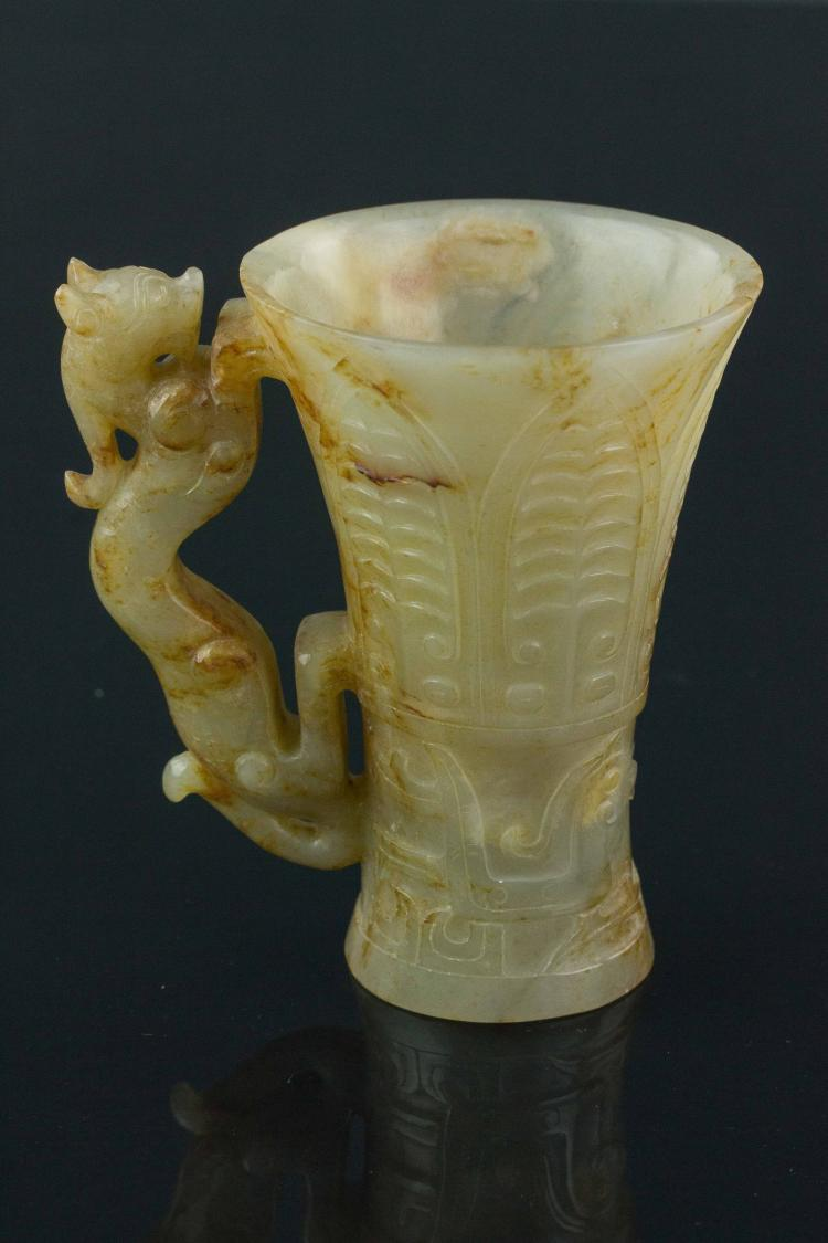 Chinese Han Period White Jade Wine Cup