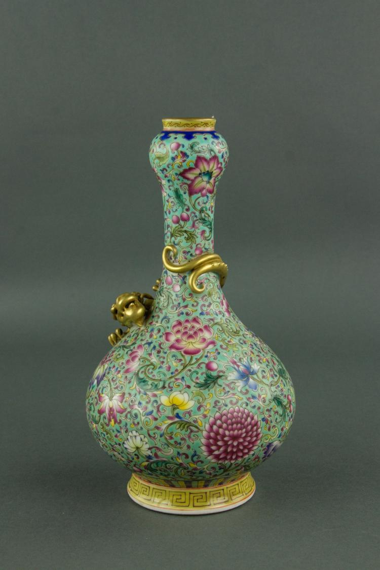 Chinese Famille Rose Garlic Mouth Porcelain Vase