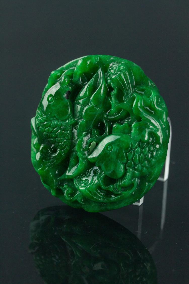 Chinese Green Jade Carps Pendant