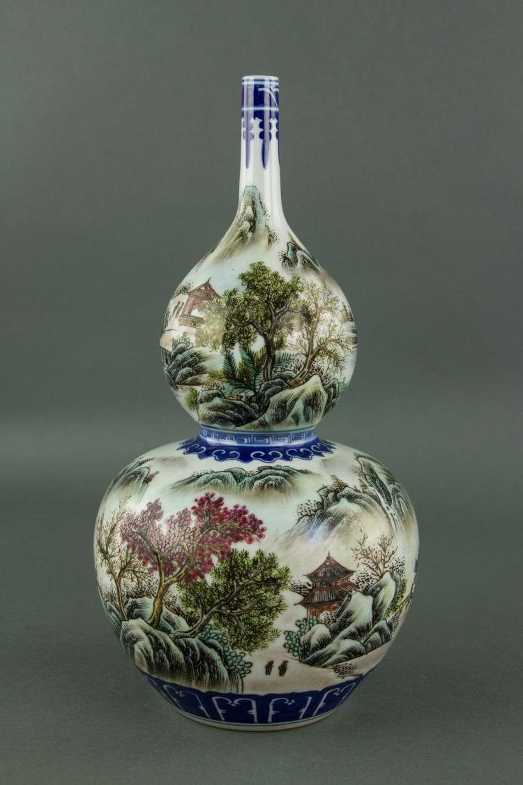 Chinese Famille Rose Double Gourad Porcelain Vase