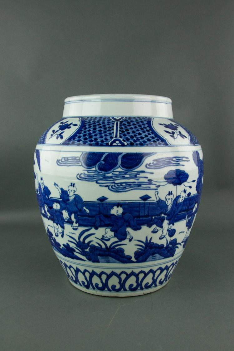Chinese Blue and White Ming Style Porcelain Jar