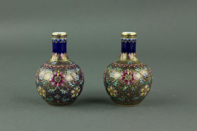 Pair Chinese Gilt Famille Rose Porcelain Vases