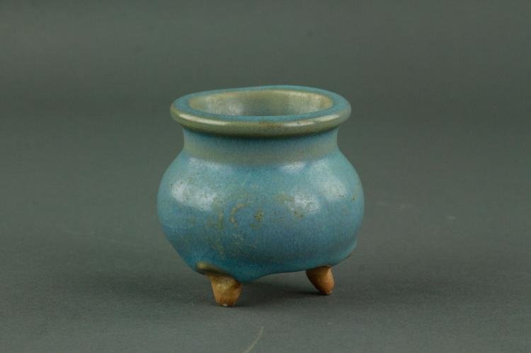 Chinese Junyao Tripod Small Porcelain Censer