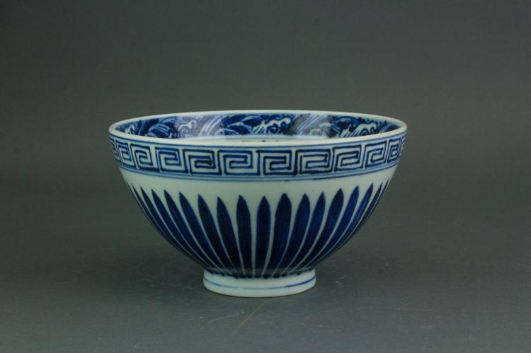 Chinese Blue and White Deep Bowl Xuande Mark