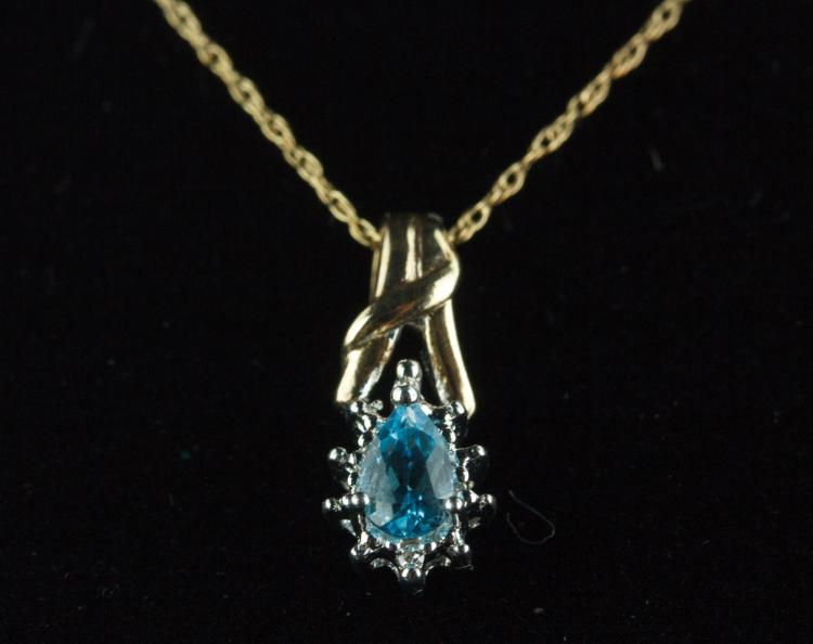 Stamped 10k Gold Blue Topaz & Diamond Necklace