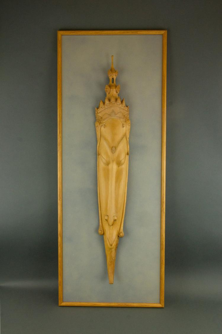 Burma Wood Carved Figure with Frame