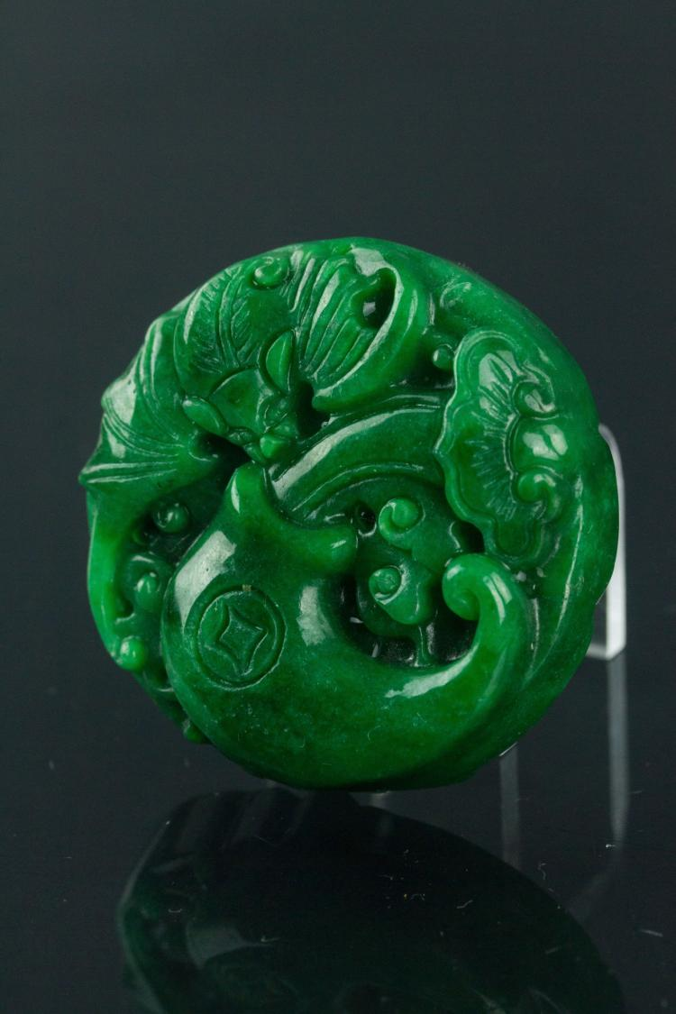 Chinese Green Jade Bat & Butterfly Pendant