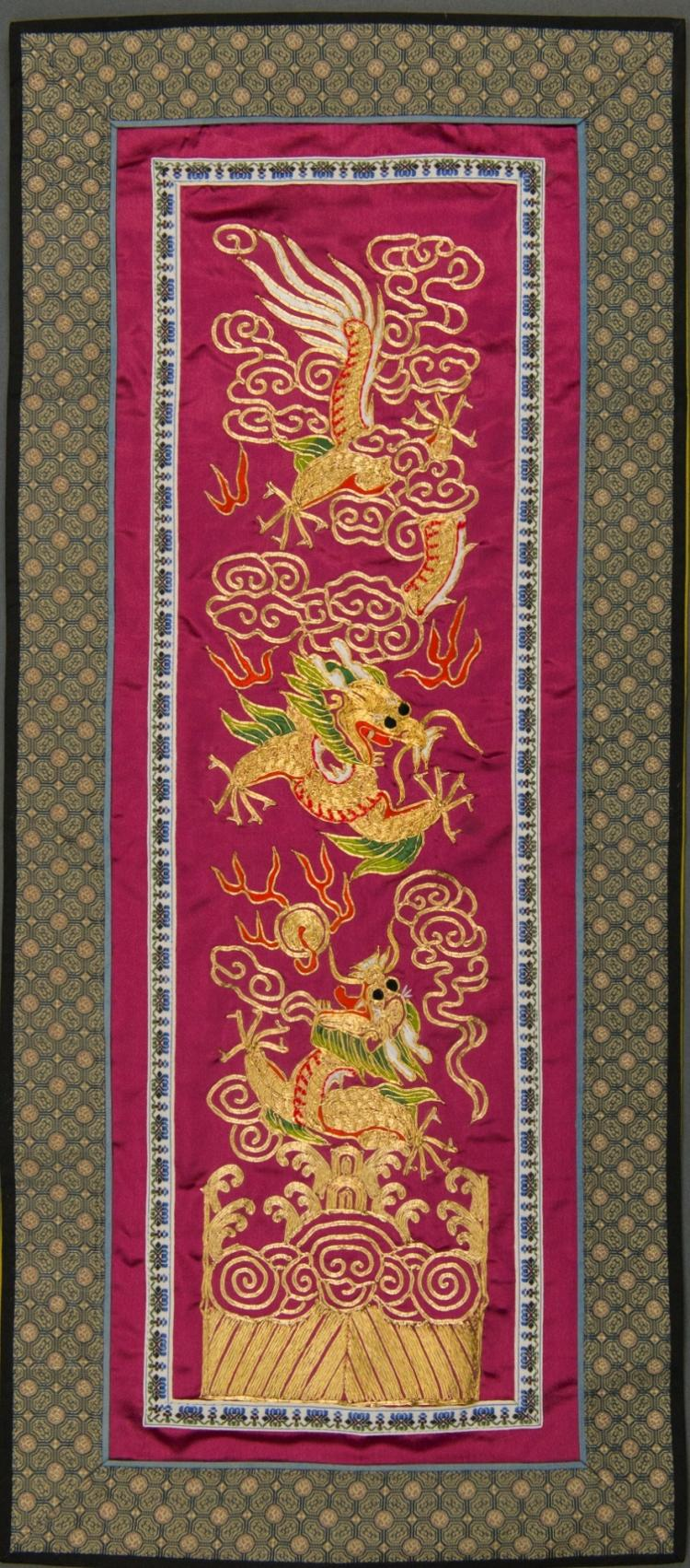 Chinese Embroidery of Dragon w Gold Thread on Silk