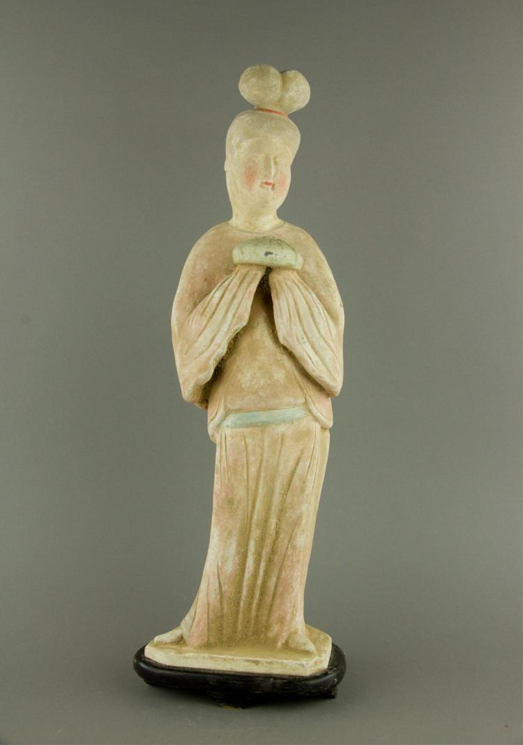 Chinese Tang Pottery Women Figure with Stand