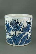 Chinese Blue and White Large Porcelain Brush Pot