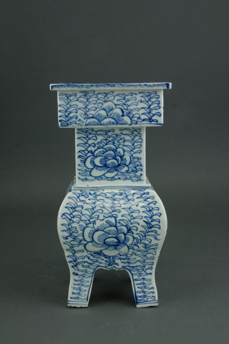 Chinese Blue & White Porcelain Censer w/ Four Legs