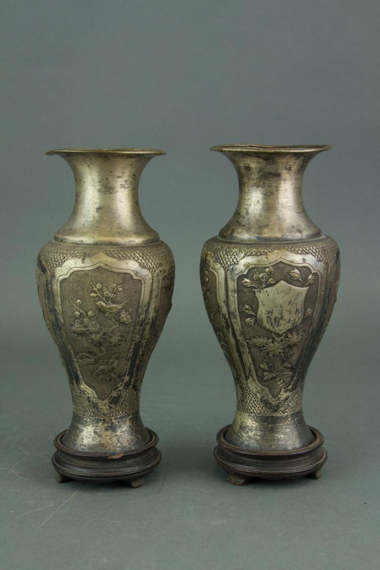 Pair Chinese/Japanese Silver Vase with Stand