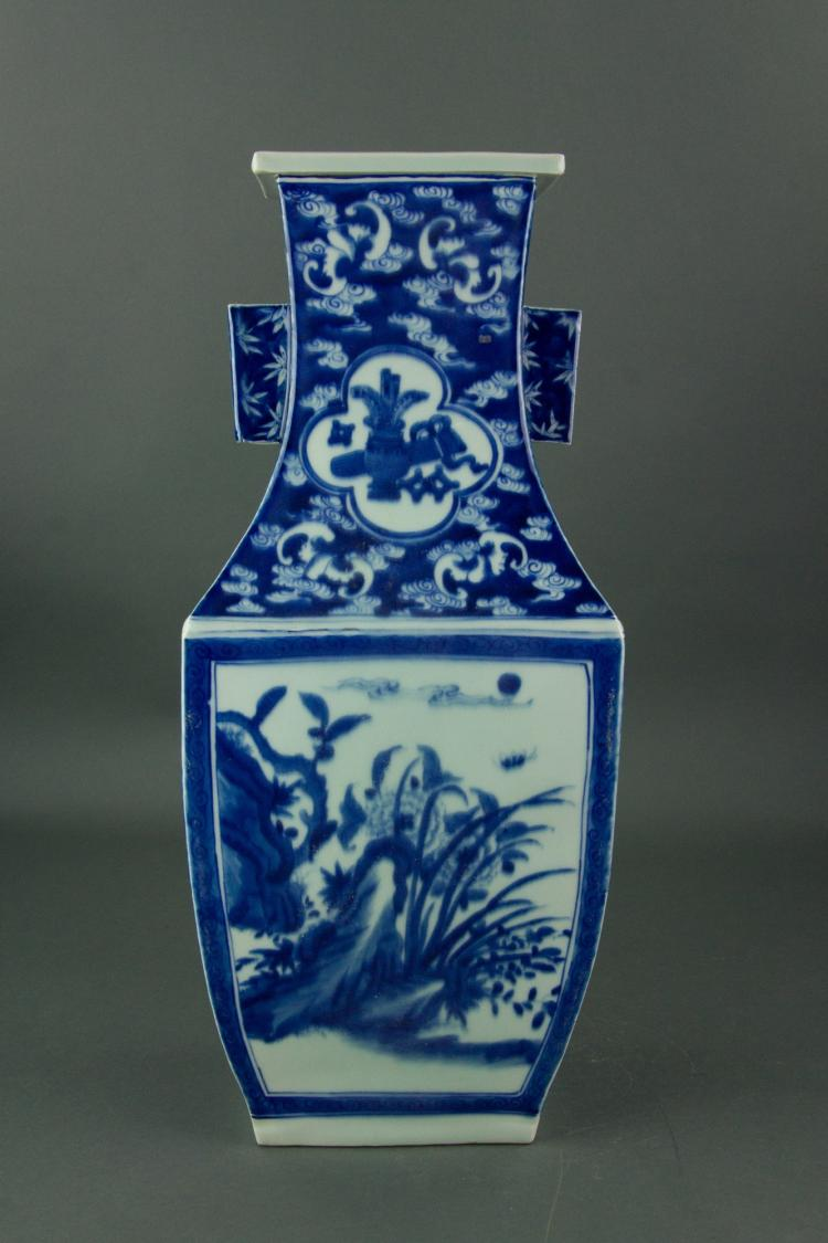 Chinese Blue and White Square Porcelain Vase
