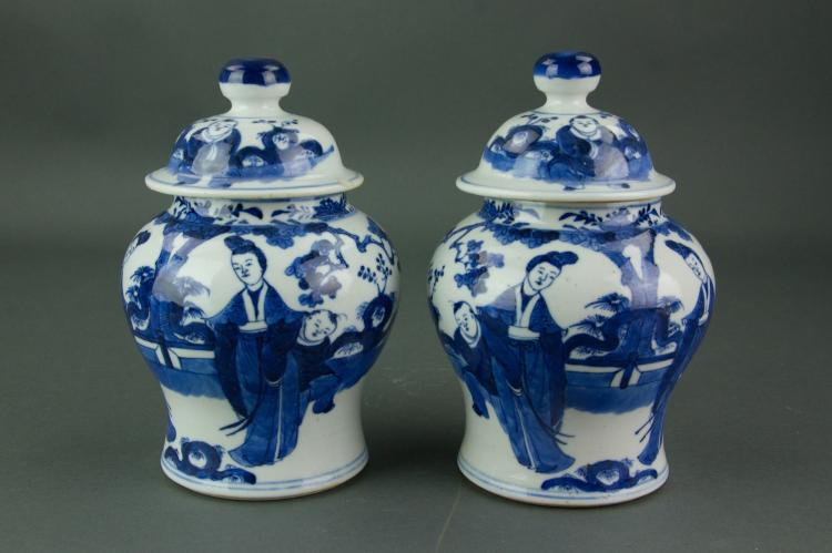 Pair Chinese Blue & White Porcelain Jars w/ Cover