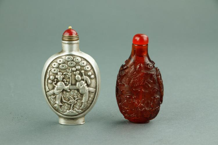 2 Pc Chinese Silver & Amber-like Snuff Bottles