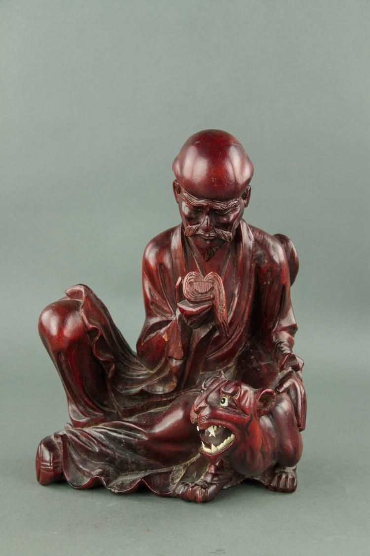 Chinese Rosewood Carved Lohan Figure