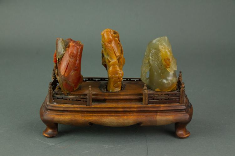 Chinese 3 Pc Set Shoushan Stone Carved Cicada with