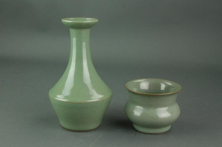 2 Pc Chinese Guan Type Porcelain Vases