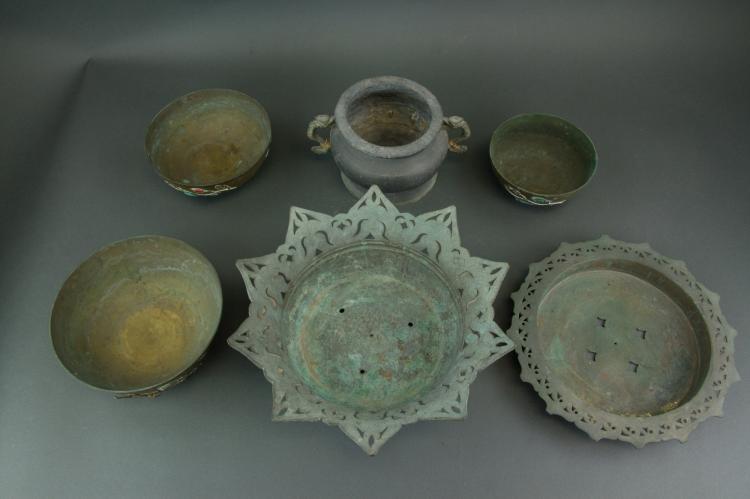 6 Pc Tibetan Metal Censers