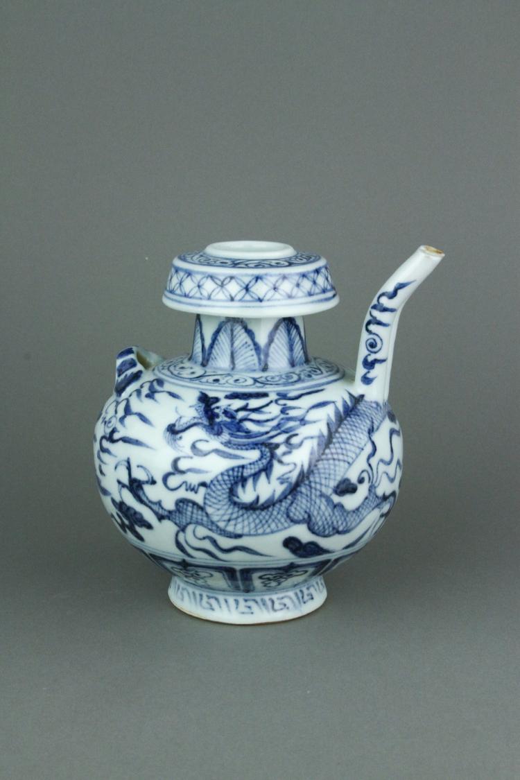 Chinese BW Porcelain Dragon Teapot