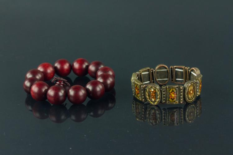 2 Pc of European Bronze and Wood Bracelets