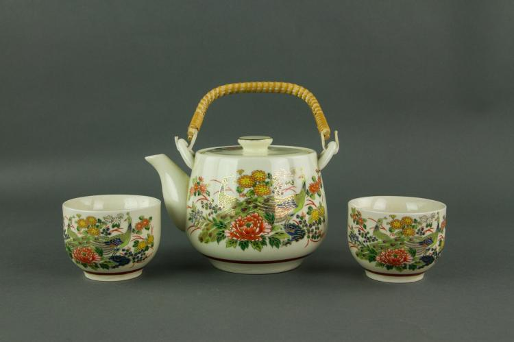 3 Pc Japanese Porcelain Teapot Set with 2 Cups