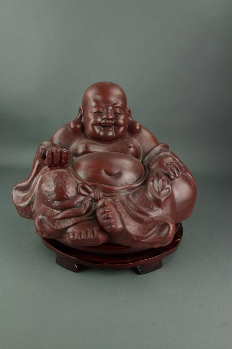 Chinese Large Zisha Carved Buddha on Stand