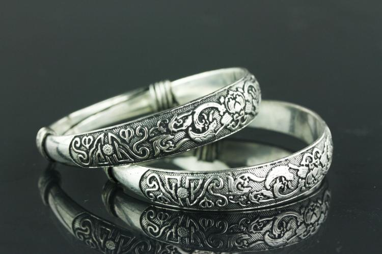 Pair of Chinese Silver Bracelets