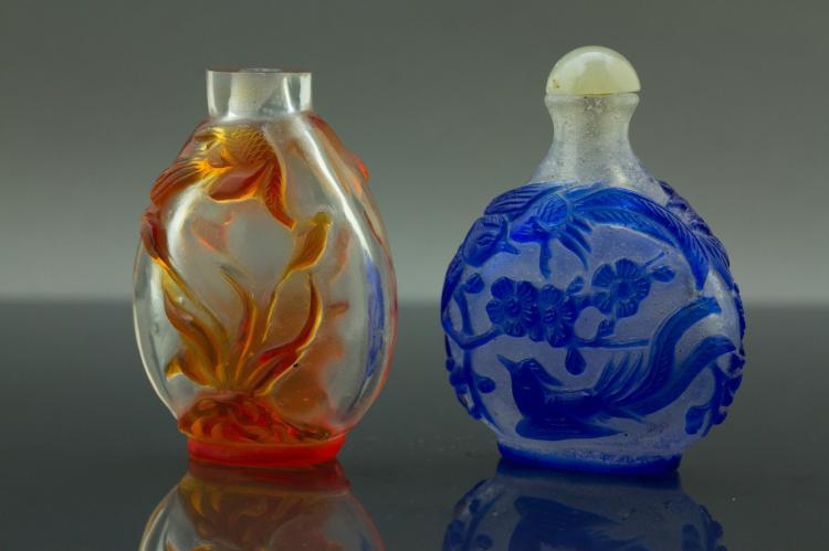 2 Pc Chinese Peking Glazed Snuff Bottles
