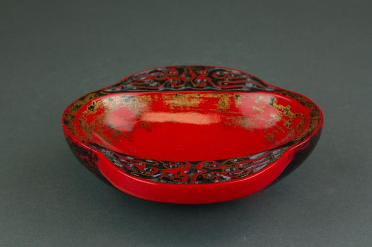 Chinese Red-lacquered Pottery Wine Cup Yu Shang