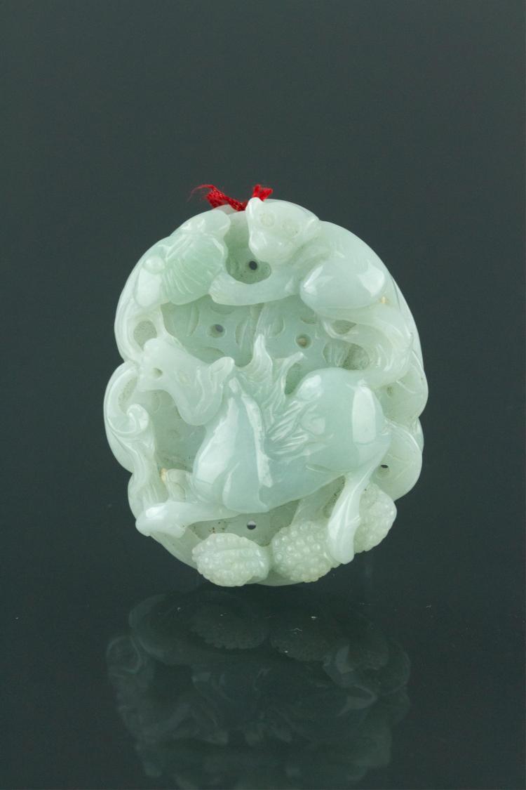 Chinese Icy Green Jade Horse & Monkey Pendant