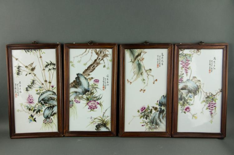 Liu Yucen 1904-1969 4 Pc FR Porcelain Plaques
