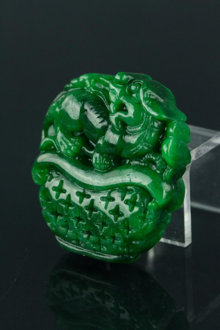 Chinese Green Jade Dragon Pendant