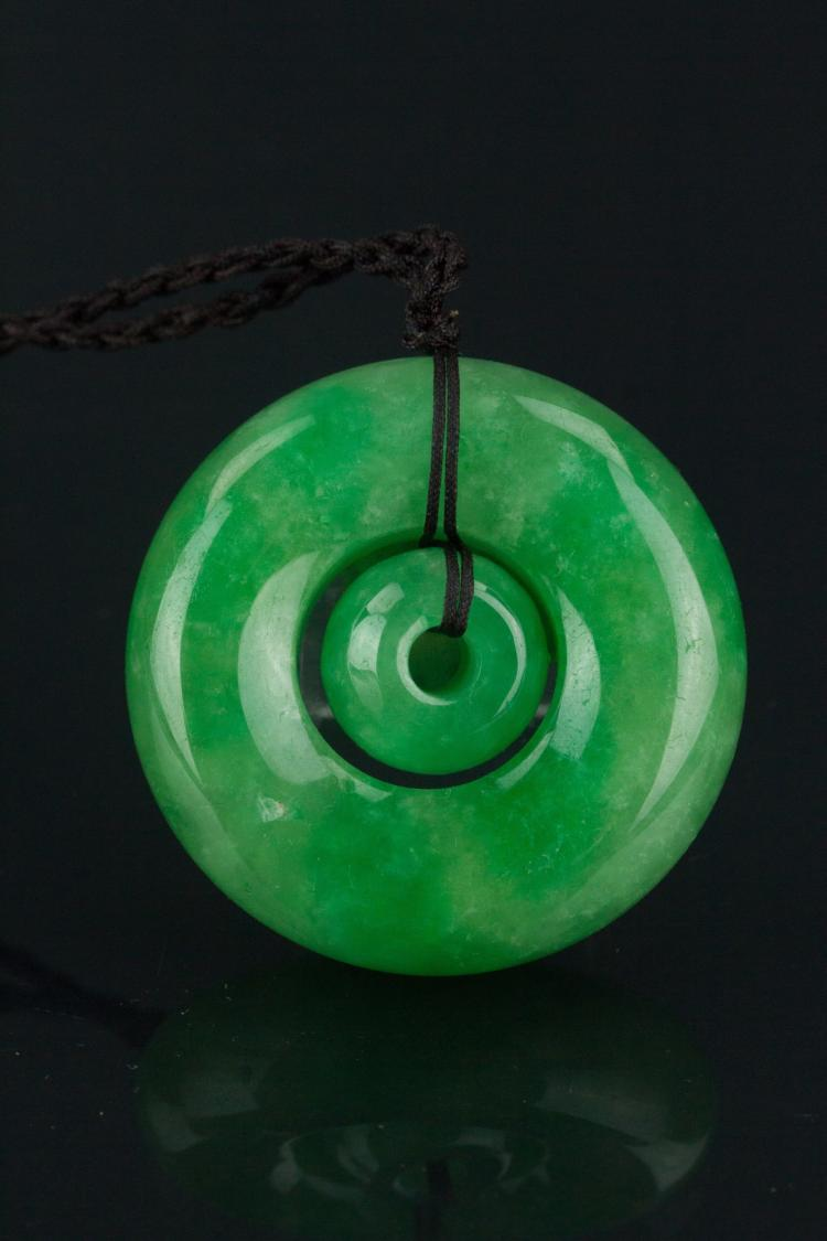Chinese Green Jadeite Round Double Circle Pendant