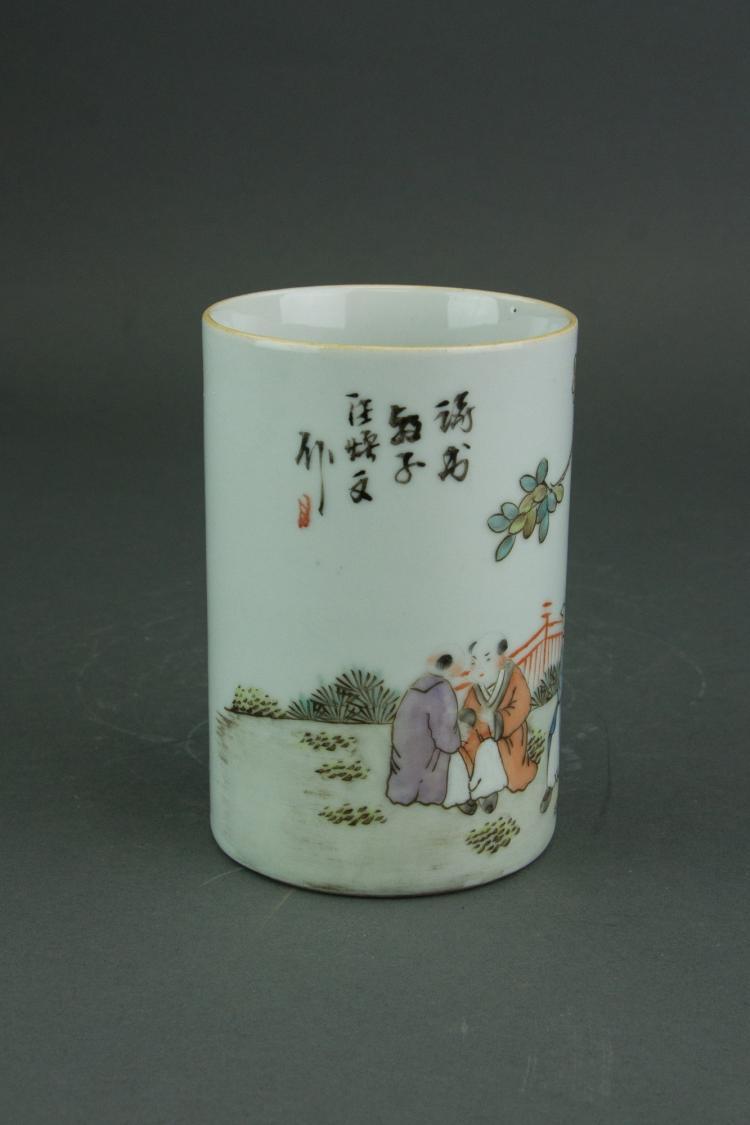 Chinese Brush Pot Famille Rose Signed Tongzhi Mk