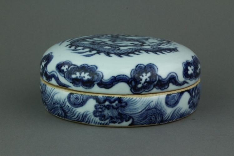 Chinese BW Dragon Round Porcelain Box