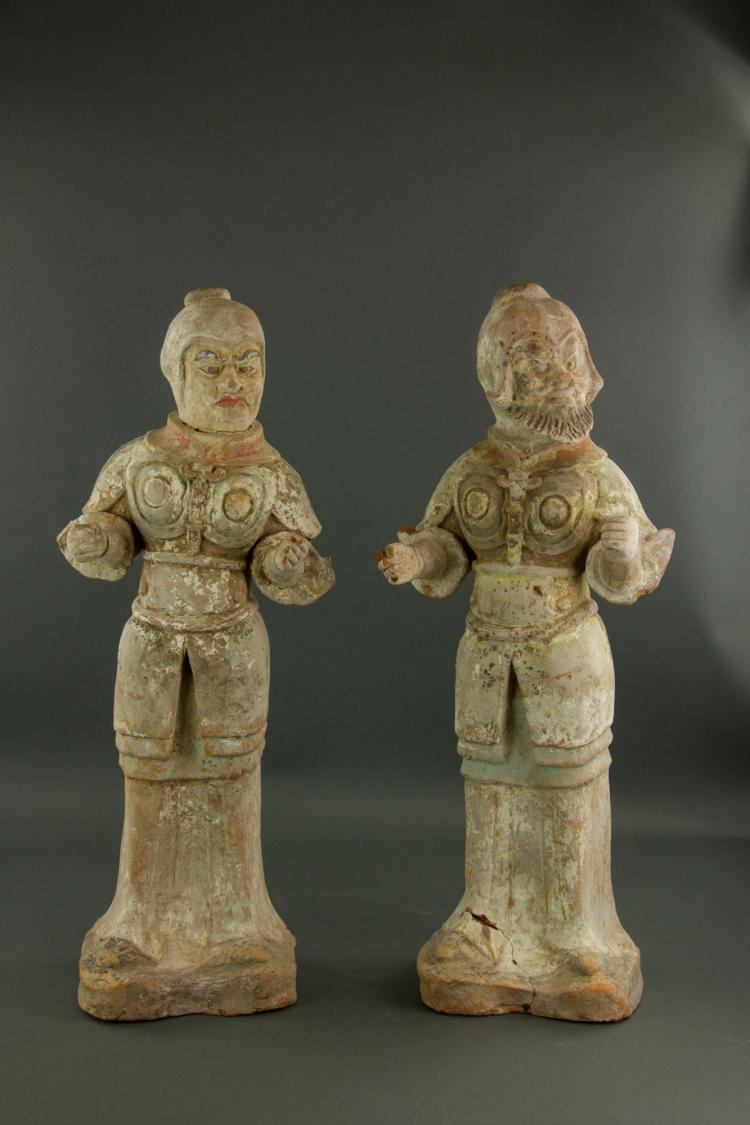 Pair Chinese Large Pottery Tang Warrior Figures