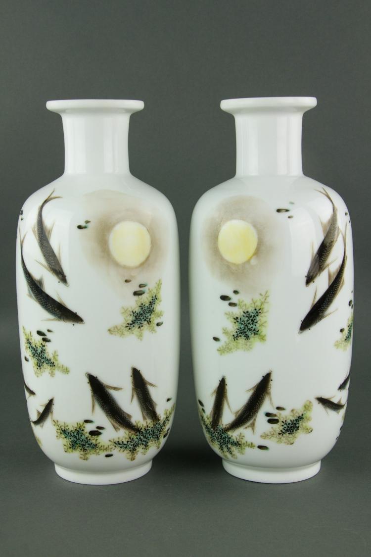 Pair Chinese Fine Famill Rose Porcelain Vases