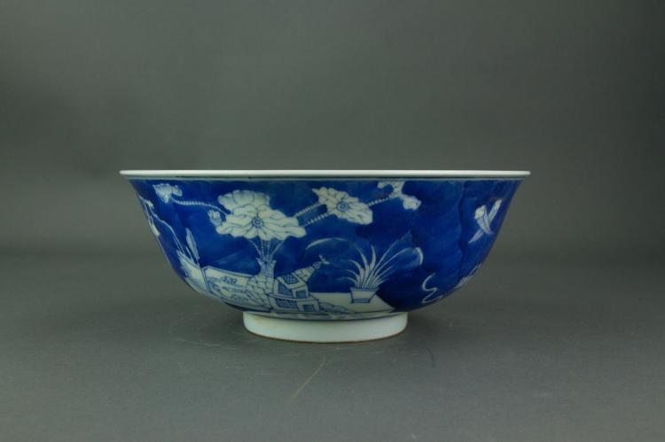 Chinese Blue & White Porcelain Bowl Double Ring MK