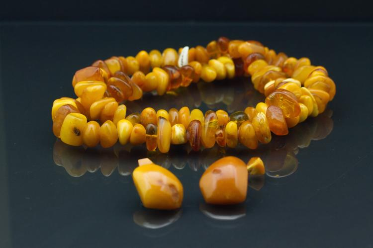 3 Pc Amber Necklace with Earrings Set