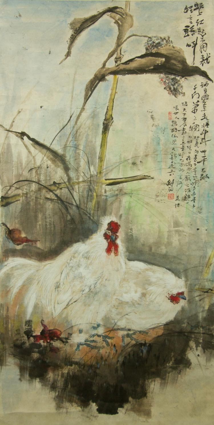 Gao Jianfu 1879-1951 Watercolour on Paper Scroll