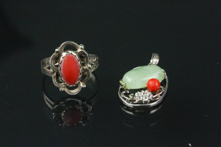 2 Pc Old Coral Ring and Pendant