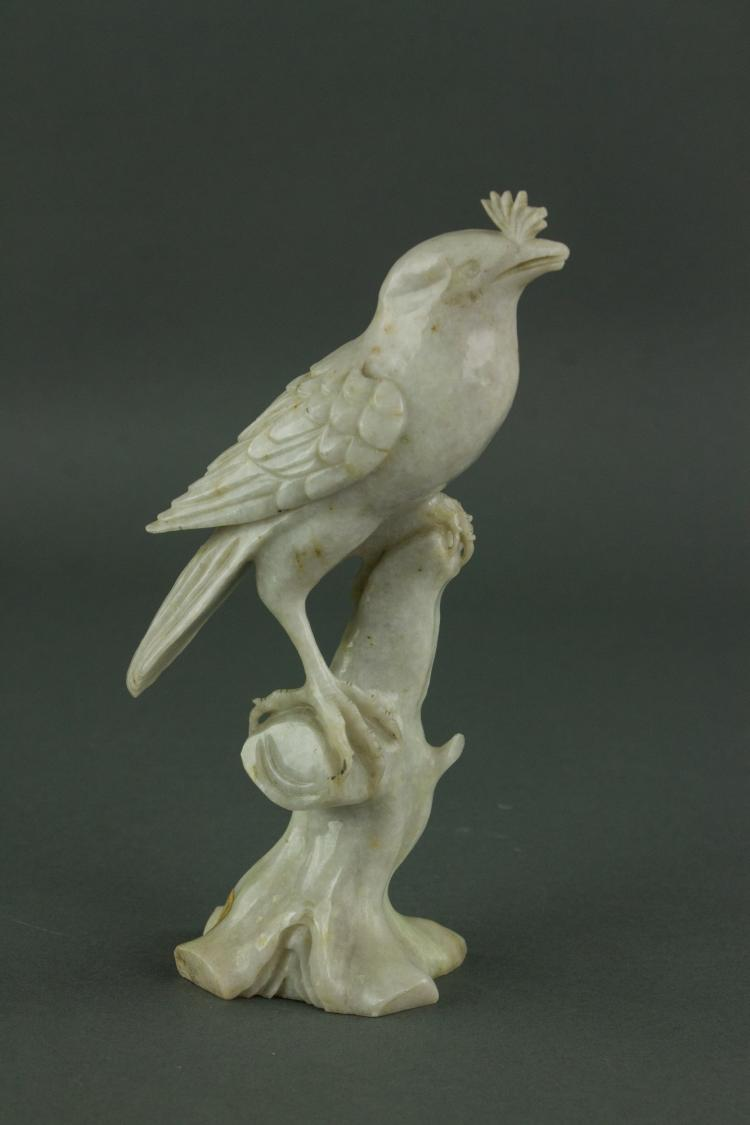 Chinese Milky White Jade Carved Bird Figure
