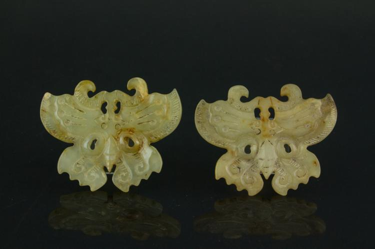 Pair of Hardstone Carved Butterfly Pendants